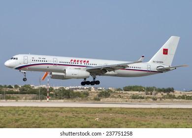 Luqa, Malta August 10, 2004: Russia State Transport Company Tupolev Tu-214 landing runway 32.