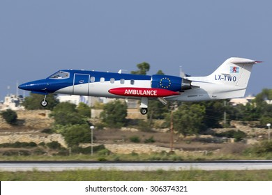 Luqa, Malta August 14, 2015: Luxembourg Air Ambulance Learjet 35A/ZR on finals for runway 31.