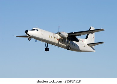 Luqa, Malta August 16, 2005: Miniliner Fokker F-27-500 Friendship taking off from runway 32.