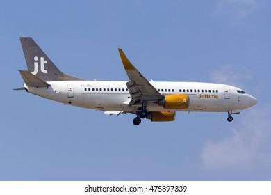 Luqa, Malta August 27, 2016: Jet Time Boeing 737-3L9 [OY-JTC] on finals runway 31, arriving from Billund.