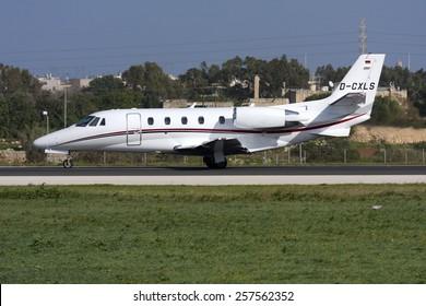 Luqa, Malta December 10, 2010: Air Hamburg Cessna 560XL Citation XLS+ getting ready for take off from runway 31.