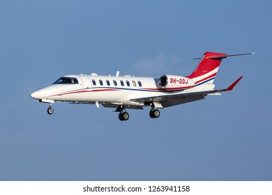 Luqa, Malta - December 17, 2018: A private Learjet 75 (Reg: 9H-DDJ) on finals runway 31.