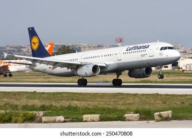 Luqa, Malta December 29, 2008: Lufthansa Airbus A321-231 landing runway 14.