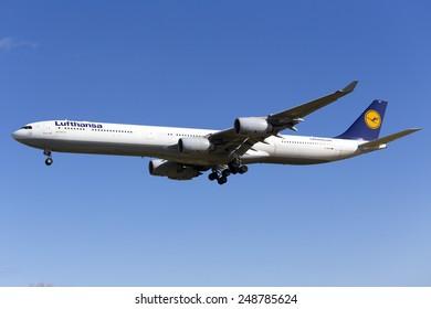 Luqa, Malta February 1, 2015: Lufthansa Airbus A340-642 on finals runway 31. Arriving for servicing at Lufthansa Technik Malta (LTM).