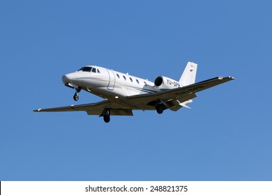 Luqa, Malta February 1, 2015: Prince Aviation Cessna 560XL Citation XLS on short finals runway 31.