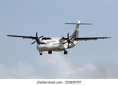 Luqa, Malta February 25, 2015: Air Austral ATR ATR-72-500 (ATR-72-212A) landing runway 31 with a freshly painted colour scheme.