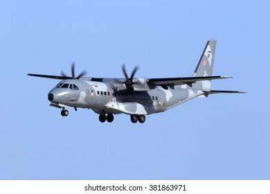 Luqa, Malta February 25, 2016: Polish Air Force CASA C-295M [027] on finals runway 31.
