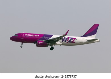Luqa, Malta January 31, 2008: Wizz Air Airbus A320-232 on short finals runway 31.