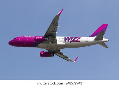 Luqa, Malta January 31, 2008: Wizz Air Airbus A320-232 takes off from runway 31.