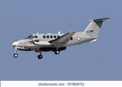 Luqa, Malta July 19, 2015: Malta Air Force (AFM) Hawker Beechcraft B200 King Air landing runway 31, returning from a patrol to the south of Malta.