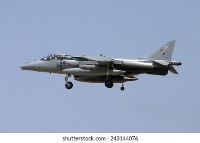 Luqa, Malta July 20, 2007: Royal Air Force British Aerospace Harrier GR7 on finals for runway 32.