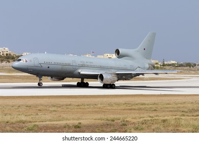 Luqa, Malta July 22, 2007: Royal Air Force Lockheed L-1011-385-3 TriStar K1 (500) takes off from runway 31.