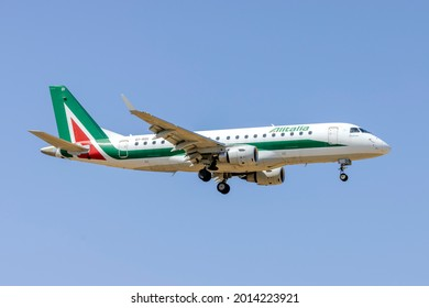 Luqa, Malta - July 24, 2021: Alitalia CityLiner Embraer 175STD (ERJ-170-200STD) (REG: EI-RDI) on finals runway 31.