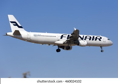 Luqa, Malta July 28, 2016: Finnair Airbus A321-211 [OH-LZF] on short finals for runway 31 in the morning.