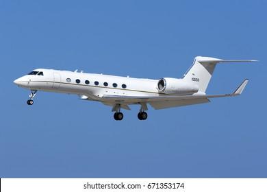 Luqa, Malta July 3, 2017: US Air Force Gulfstream Aerospace C-37B Gulfstream G550 (G-V-SP) [11-0550] on finals runway 31.