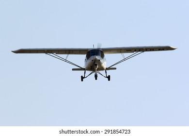 Luqa, Malta June 29, 2015: Buzz Flying Comco Ikarus C42B on finals for runway 05.