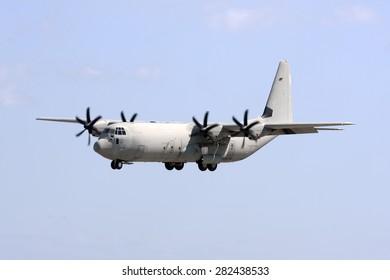 Luqa, Malta March 1, 2011: Italian Air Force Lockheed Martin C-130J-30 Hercules (L-382) landing runway 31 in the midst of the Libyan uprising.