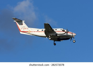Luqa, Malta March 2, 2011: French Civil Protection Beech B200 Super King Air on finals for runway 13.
