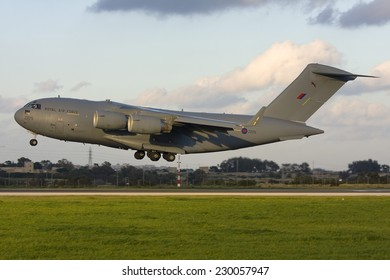 Luqa, Malta March 5, 2011: Royal Air Force Boeing C-17A Globemaster III landing runway 31.
