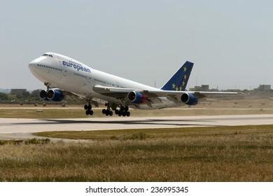 Luqa, Malta May 1, 2005: European Aircharter - EAL Boeing 747-236B departs Malta from runway 32.