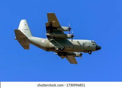 Luqa, Malta - May 12, 2020: Tunisian Air Force Lockheed C-130H Hercules (L-382) (REG: Z21012/TS-MTB) on long finals runway 31.