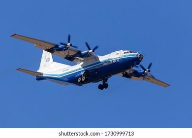 Luqa, Malta - May 12, 2020: Motor Sich Antonov An-12BP (REG: UR-11819) on long finals runway 31, in the morning.