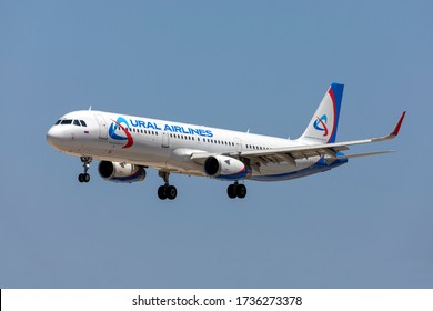 Luqa, Malta - May 20, 2020: Ural Airlines Airbus A321-231 (REG: VP-BSW) arriving runway 31 in the early afternoon.