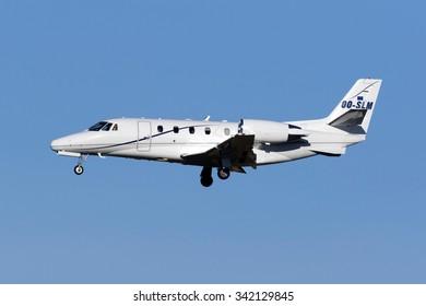 Luqa, Malta November 11, 2015: Cessna 560XL Citation XLS [OO-SLM] on finals runway 31. Arriving for the Valletta EU - Africa Summit about Migration being held in Malta.