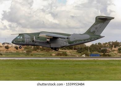 Luqa, Malta - November 14, 2019: Brazilian Air Force Embraer KC-390 (FAB-2853) on finals after a long flight.. A very recent delivery (September 2019) to the Brazilian Air Force.