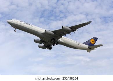 Luqa, Malta November 18, 2014: Lufthansa Airbus A340-313 departing Malta after servicing at Lufhansa Technik Malta (LTM).