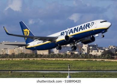 Luqa, Malta November 20, 2016: Ryanair Boeing 737-8AS [EI-ENF] on departure from runway 13.