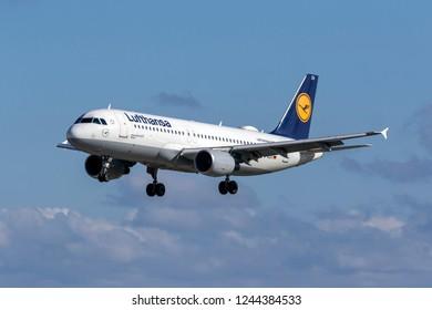 Luqa, Malta - November 29, 2018: Lufthansa Airbus A320-214 (REG: D-AIZH) landing runway 31.