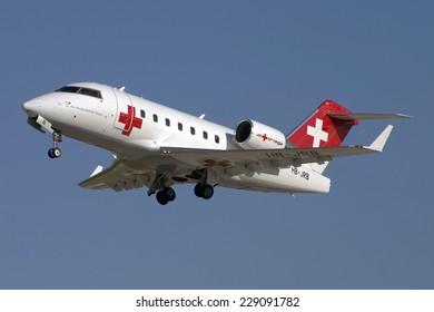 Luqa, Malta November 9, 2005: Rega - Swiss Air Ambulance Bombardier Challenger 604 (CL-600-2B16) taking off from 31.