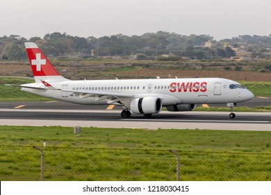 Luqa, Malta - October 21, 2018: Swiss International Air Lines Bombardier CSeries CS300 (HB-JCB) landing runway 31.