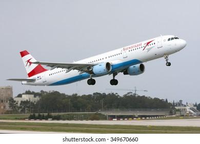 Luqa, Malta October 4, 2009: Austrian Airlines (Tyrolean Airways) Airbus A321-111 [OE-LBB] take off runway 31.