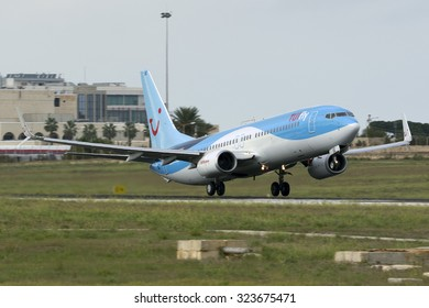 Luqa, Malta October 4, 2015: TUIfly Boeing 737-8K5 [D-ATUE] departing runway 13 full length but remaining low.