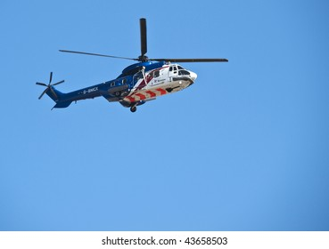 LUQA, MALTA - SEP 26 : Bristow Helicopters Aerospatiale AS-332L Super Puma in flight during the Malta International Airshow September 26, 2009 in Luqa, Malta.