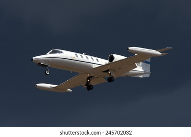 Luqa, Malta September 25, 2009: US Air Force Gates Learjet C-21A (35A) on finals for runway 32.