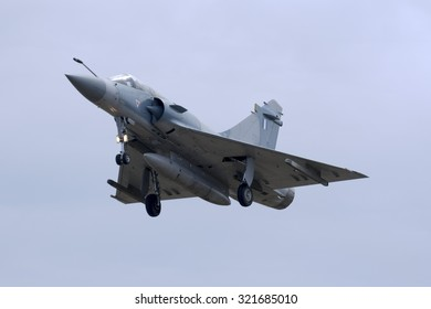 Luqa, Malta September 25, 2015: Greek Air Force Dassault Mirage 2000-5EG arriving runway 31 to participate in the Airshow during the coming weekend.
