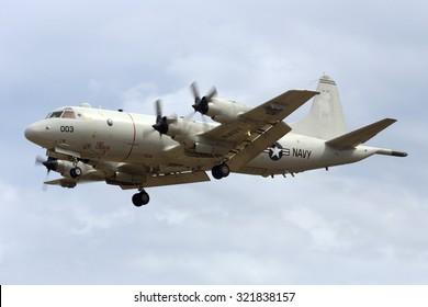 Luqa, Malta September 25, 2015: US Navy Lockheed P-3C Orion on finals runway 31.