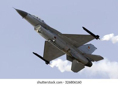 Luqa, Malta September 25, 2015: Belgian Air Force General Dynamics (SABCA) F-16AM Fighting Falcon solo display.