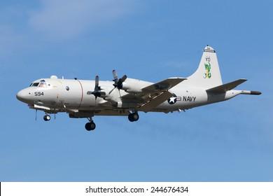 Luqa, Malta September 26, 2014: US Navy Lockheed P-3C Orion on short finals runway 31.