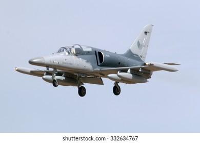 Luqa, Malta September 26, 2014: Czech Air Force Aero L-159A ALCA jet landing runway 31.