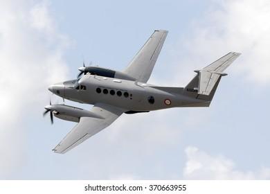 Luqa, Malta September 26, 2015: Malta Armed Forces Hawker Beechcraft B200 King Air taking off from runway 23.