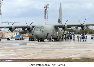 Luqa, Malta September 27, 2004: Italian Air Force Lockheed Martin C-130J-30 Hercules (L-382) [MM62191] being loaded in apron 4.