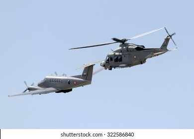 Luqa, Malta September 27, 2015: Armed Forces of Malta Hawker Beechcraft B200 King Air and AgustaWestland AW-139.