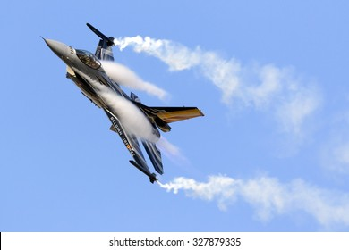 Luqa, Malta September 27, 2015: Belgian Air Force General Dynamics (SABCA) F-16AM Fighting Falcon solo display.