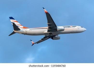 Luqa, Malta - September 27, 2018: Smart Wings Boeing 737-86N [REG: OK-TVU] on take off from runway 13.