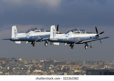 Luqa, Malta September 28, 2015: 2 Greek Air Force Raytheon T-6A Texan II departing in formation.