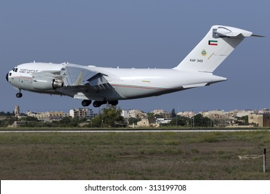 Luqa, Malta September 4, 2015: Kuwait Air Force Boeing C-17A Globemaster III on final approach for runway 31.